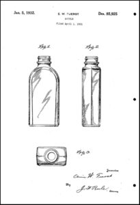 Drawing of bottle design for patent application D-85925