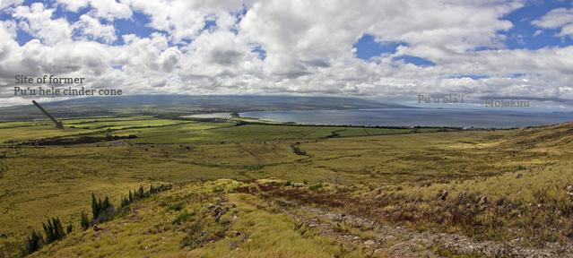 Site of former Pu'u hele cinder pit with Molokini and Pu'u ola'i in the distance